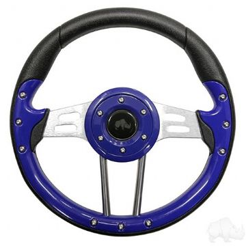 "Steering Wheel, Aviator 4 Blue Grip/Brushed Aluminum Spokes 13"" Diameter"